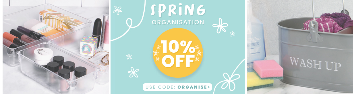 Get 10% OFF a huge range of cleaning and organisation essentials in our Spring Organisation store, just use the code 'ORGANISE' at checkout!  *Excludes sale items & Lightning Deals